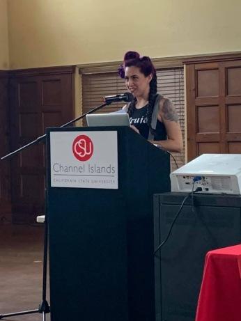 Vanessa Sanchez speaking at CSU Channel Island's Pachuquisma Symposium