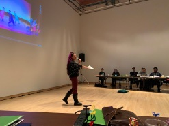Vanessa Sanchez speaking at NEFA National Dance Production cohort in Sheboygan, WI