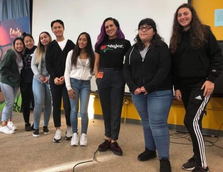 Vanessa Sanchez giving a talk to Balboa High School students